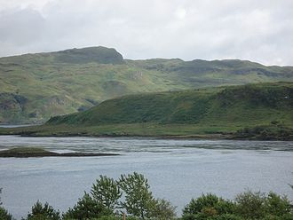 Torsa - The north end of Torsa with the heights of Dùn Crutagain beyond, seen from Seil