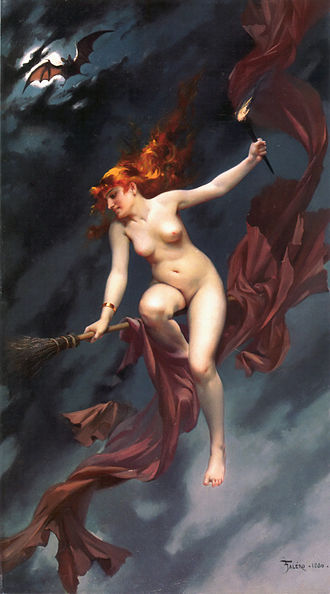 Skyclad (Neopaganism) - Artistic representation of a nude witch.