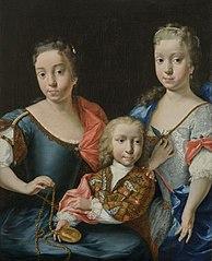 Portret van de kleinkinderen van Adriaen van der Werff (1659-1722): Margaretha Maria (1719-1784) en Adriana Martina (1721-1763) met hun broer Adriaan (1723-?)