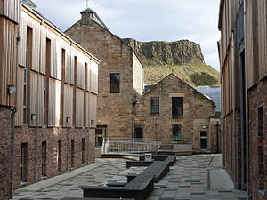 The Canongate - Thomsons Land is one example of a modern development in the Canongate. Note the renovated brewery buildings.