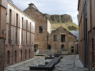 The Canongate - Sugarhouse Close is an example of a modern development in the Canongate. Note the renovated brewery buildings.