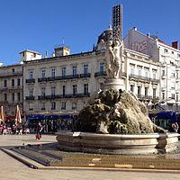 Three Graces fountain on the Place de la Comédie 11 2013 Montpellier 615.JPG