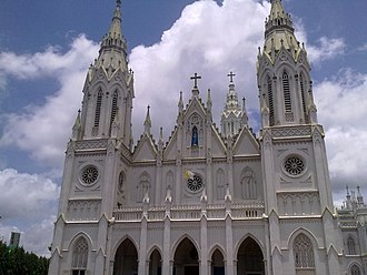 Asia's tallest church, the Our Lady of Dolours Syro-Malabar Catholic Basilica is situated in the middle of Thrissur city Thrissur Church6.jpg