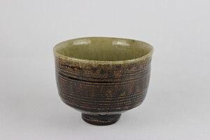Shōji Hamada - Thrown, Combed tea bowl by Shoji Hamada