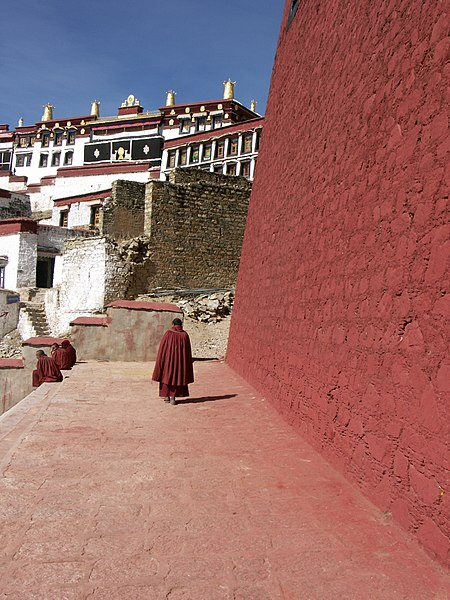 File:Tibet Ganden Monastery in 2008 with partial ruins from its destruction after 1959 Tibetan uprising.jpg