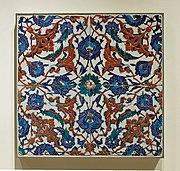 Ceramic tile produced in Iznik, Turkey, second half of 16th century, kept in the Louvre.