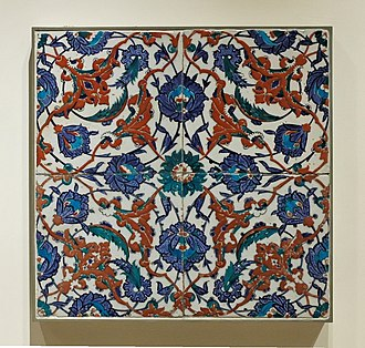 Ceramic art - 16th century Turkish Iznik tiles, which would have originally formed part of a much larger group