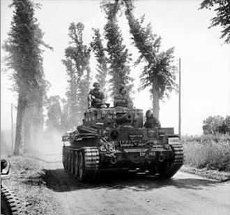 Operation Perch - Centaur IV tank of the Royal Marines Armoured Support Group near Tilly-sur-Seulles