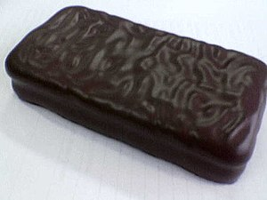 A dark chocolate Tim Tam.