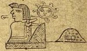 Tlacateotl - Tlacateotl in the Codex Xolotl, with his name glyph (top) and the glyph for Tlatelolco (right).