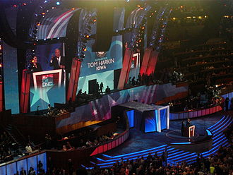 Tom Harkin - Harkin speaks during the first night of the 2008 Democratic National Convention in Denver, Colorado, opening his speech using American Sign Language in reference to his involvement with the Americans with Disabilities Act.