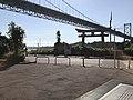Torii of Mekari Shrine and Kammonkyo Bridge in front of entrance of Kammon Pedestrian Tunnel.jpg