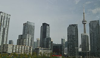 CityPlace, Toronto - View of CityPlace with Canoe Landing Park in the centre foreground