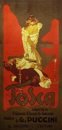 """Стилизованный рисунок, показывающий Tosca стоя над телом Скарпиа, около положить распятие на груди.  Текст гласит: """"Tosca: либретто ди V Сарду, L, G Иллика Джакозы Musica ди G Puccini Риккарди & C. Editori.""""."""