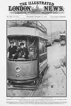 Newspaper page showing a tram; the driver has a gun to his head. A man is shooting out of the back of the tram as another tram chases it.