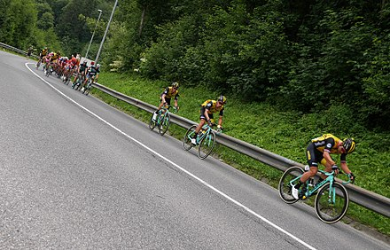 Team LottoNL-Jumbo leading the Peloton on the 3rd stage of Tour of Slovenia 2018, which was won by Primoz Roglic (Team LottoNL-Jumbo) Tour of Slovenia 2018.jpg