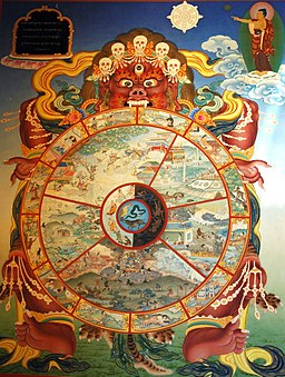 Traditional bhavachakra wall mural of Yama holding the wheel of life, Buddha pointing the way out