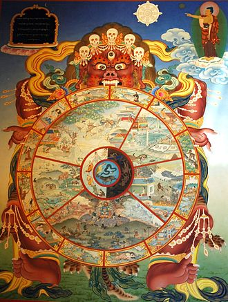 Saṃsāra (Buddhism) - A thangka showing the bhavacakra with the ancient five cyclic realms of saṃsāra in Buddhist cosmology. Medieval and contemporary texts typically describe six realms of reincarnation.