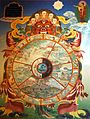 Traditional bhavachakra wall mural of Yama holding the wheel of life, Buddha pointing the way out.jpg