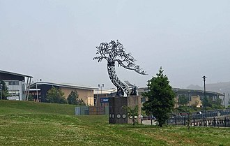 University of Sunderland - Tree sculpture at the campus entrance