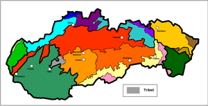 Tribeč - Tribeč within the geomorphological division of Slovakia
