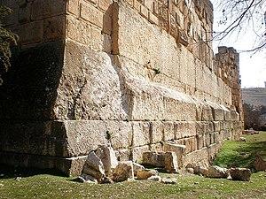 """Trilithon - The 3 blocks known as trilithon in Temple of Jupiter Baal (""""Heliopolitan Zeus"""") in Baalbek, Lebanon."""