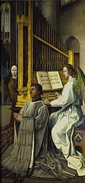 "Music in Medieval Scotland - Detail from the ""Trinity Altarpiece"" by Hugo van der Goes, showing Sir Edward Bonkil, first Provost of Trinity College, Edinburgh, with an angel playing a pipe organ"