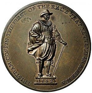 Tristram Coffin (settler) - 1827 medal depicting Tristram Coffin