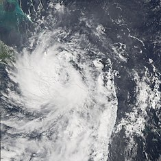 Tropical storm Alpha reaching the mainland near Barahona, Dominican Republic