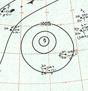 1961 Pacific typhoon season - Image: Tropical Storm Rita analysis 17 Jan 1961