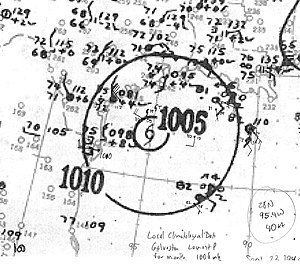 1940 Atlantic hurricane season - Image: Tropical Storm Six analysis 23 Sep 1940