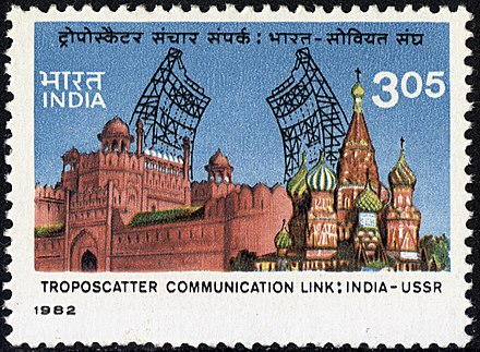 India-USSR troposcatter UHF link on a 1982 stamp of India Troposcatter link stamp of India-1982.jpg