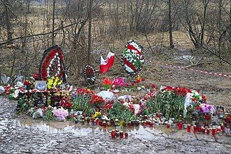 2010 Polish Air Force Tu-154 crash - Improvised memorial at the Russian crash site