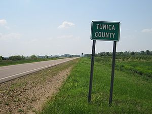 Tunica County, Mississippi - Image: Tunica County MS sign 002 2012 03 31
