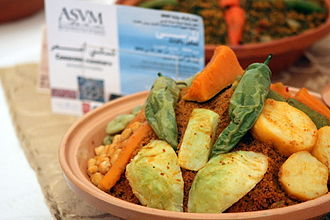 Couscous - Brown couscous with vegetables in Tunisia