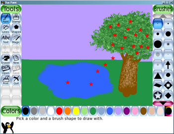 A drawing made in Tux Paint using various brus...
