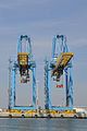 Two blue portainers in Le Havre (France).jpg