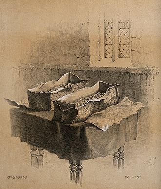 Gundred, Countess of Surrey - Two leaden cists containing the remains of Gundred and her husband; chalk lithograph by F. W. Woledge after a drawing by R. H. Nibbs, 1845