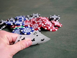 Betting in poker - Players work to minimize the visibility of their hand to others by only turning up part of their cards