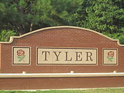 "A roadside plaque reading ""Tyler""."