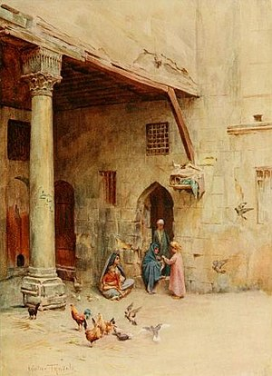 """Walter Tyndale - A """"Takhtabosh"""" (or loggia) in Cairo"""