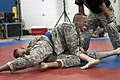 U.S. Army Sgt. Devron West, top, assigned to the 300th Chemical Company, 485th Chemical Battalion, competes against Sgt. Blayne Peterson in the combatives tournament during the 2013 Army Reserve Best Warrior 130627-A-EA829-817.jpg