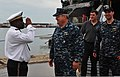 U.S. Navy Capt. David Rollo, center, the U.S. 6th Fleet maritime affairs officer for West Africa, is greeted by Capt. Charles Oyoko, the chief of Congolese navy, as high speed vessel Swift (HSV-2) arrives 120515-N-VZ366-058.jpg