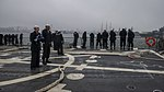 U.S. Sailors aboard the guided missile destroyer USS Truxtun (DDG 103) prepare to pull into Constanța, Romania, March 8, 2014 140308-N-EI510-244.jpg