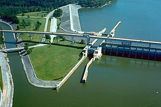 Chattanooga, Tennessee - Chickamauga Lock and Dam on the Tennessee River at Chattanooga