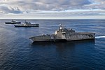 USS Independence (LCS 2), left, USS Manchester (LCS 14), and USS Tulsa (LCS 16) are underway in formation in the eastern Pacific. (46514876144).jpg