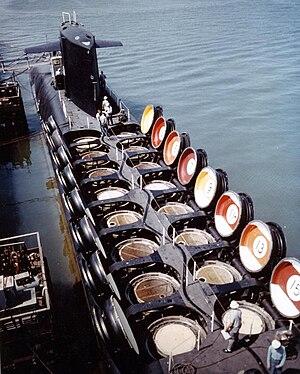 "USS Sam Rayburn (SSBN-635) - Sam Rayburn c. 1964, with her missile hatches showing their ""billiard ball"" livery"