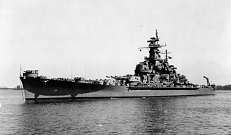 USS South Dakota (BB-57) - South Dakota off Norfolk Navy Yard in 1943