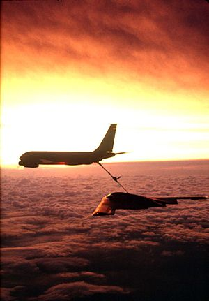 350th Air Refueling Squadron - A KC-135 Stratotanker from the 22nd Air Refueling Wing refuels a B-2 Stealth Bomber from the 509th Bomb Wing.