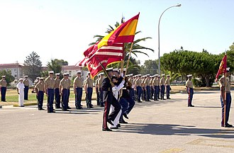 Marines - Spanish and U.S. Marines march together in a change of command ceremony at Naval Station Rota, Spain in July 2002.